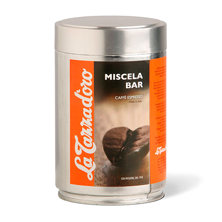 MISCELA D'ORO Espresso blend whole beans with coffee origins from Brasil, Ethiopia and India, Italy, La Tazza d'oro srl
