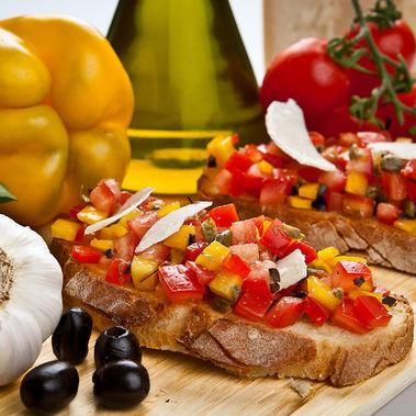 BRUSCHETTA OF PEPPERS red and yellow peppers Sauce condiment , Italy, SARF Specialità Alimentari Riviera dei Fiori