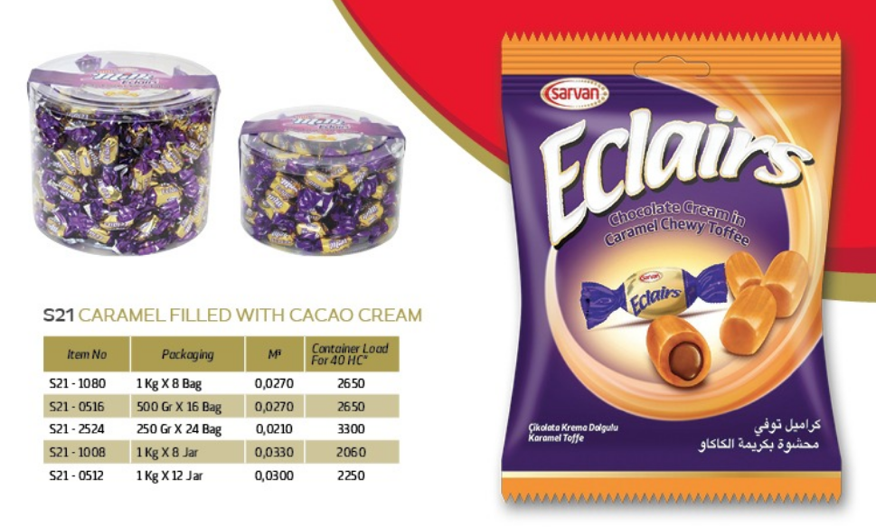 Turkish candy:chocolate cream in Caramel Chewy Toffee;