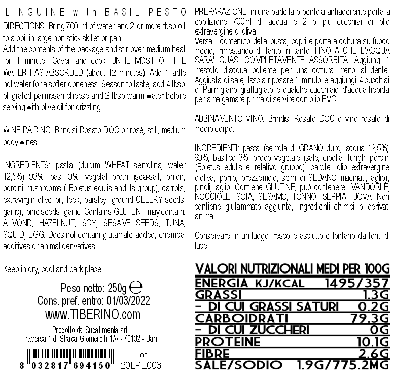 LINGUINE WITH BASIL PESTO 250g, vegetable pasta, cereal, , Italy, TIBERINO SUDALIMENTA SRL