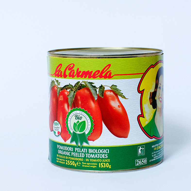 Canned Whole Organic Peeled tomatoes and organic tomatoes juice, instant food, Italy FRATELLI D'ACUNZI SRL