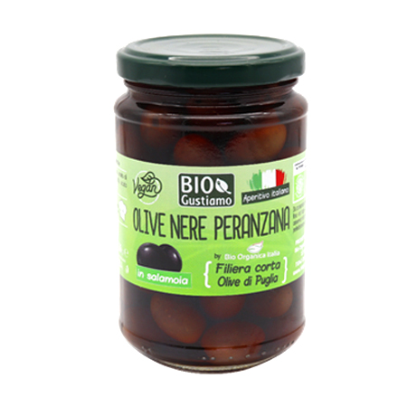 Organic Black Olives in Brine Glass Jar Black Olive Condiment 280g