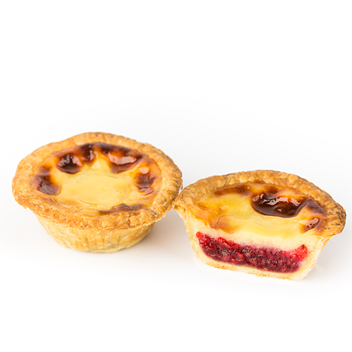 Sladoff Pastel de nata with cream and raspberries