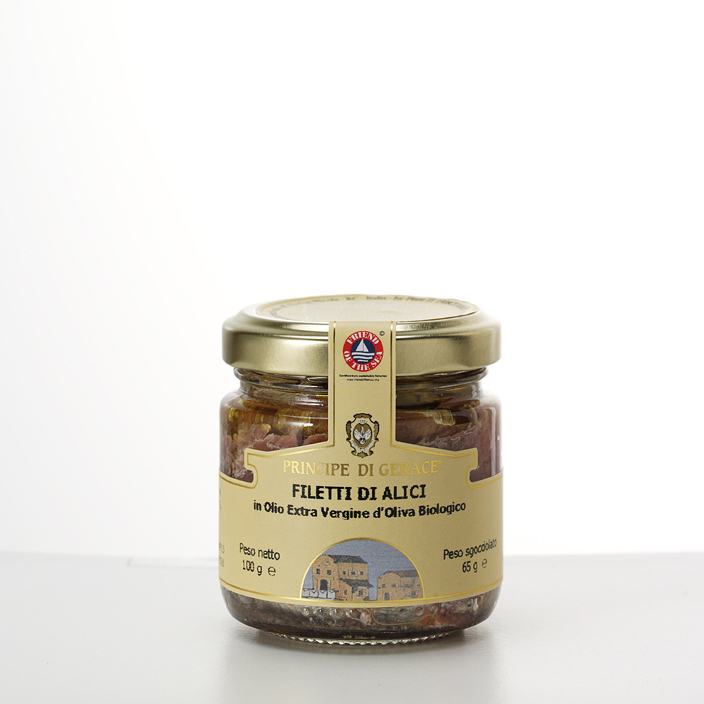 Principe di Gerace, ANCHOVIES FILLETS IN ORGANIC EXTRA VIRGIN OLIVE OIL, 100g, Mediterranea foods, Italy