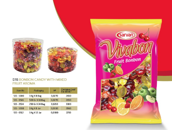 fruit flavoured with milk cream;tiny Bonbon;mixed fruit aroma;