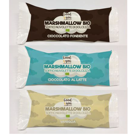 GOOD4YOU ORGANIC MARSHMALLOW covered with crunchy chocolate, Organic Candy, Italy snack/ dessert/Confectionary/ KONTAK SAS
