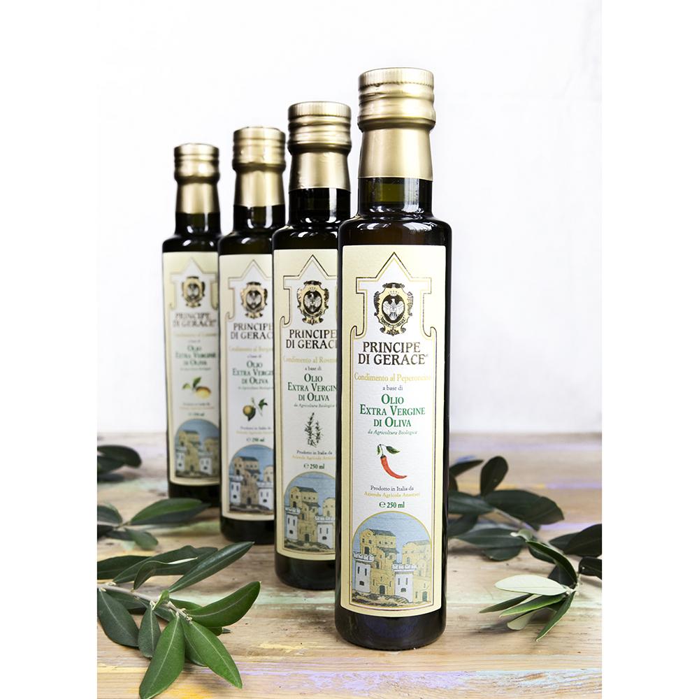 Principe di Gerace, Organic Flavoured Oils, 100% Product of Italy, 250ml (Chili/Bergamot/Lemon/Rosem