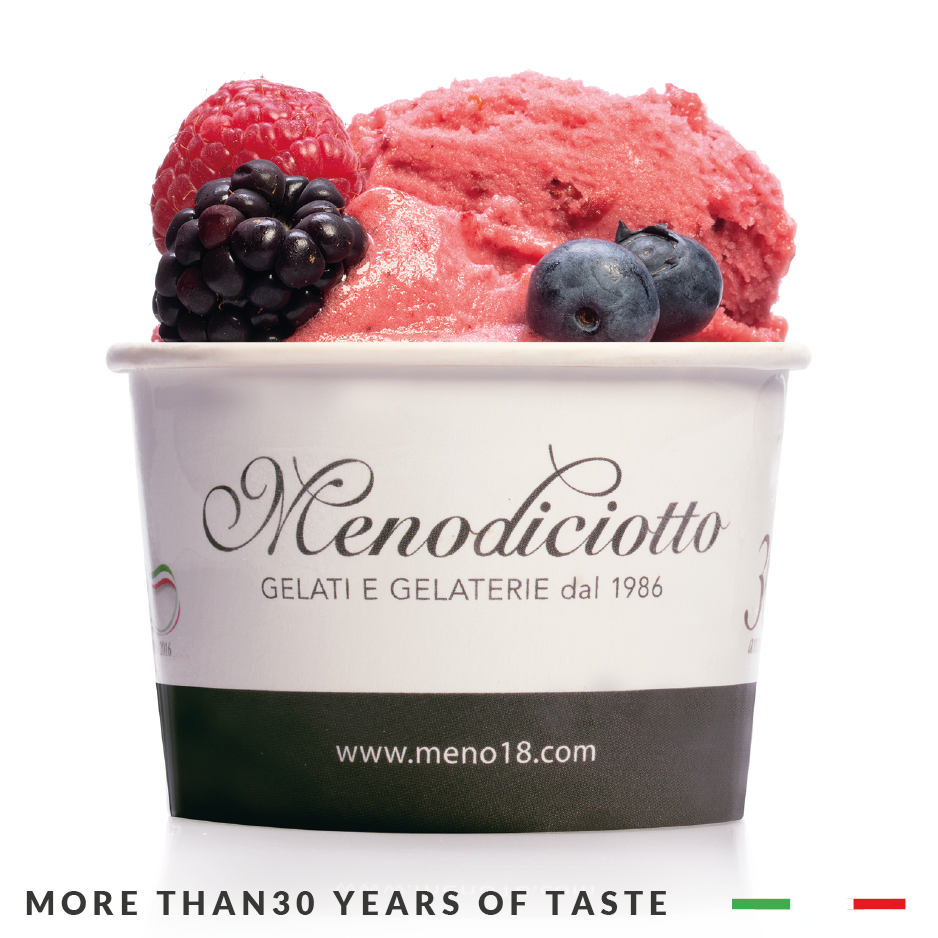 Italian Menodiciotto Gelato and Sorbet for Ice cream parlour in trays and tubs