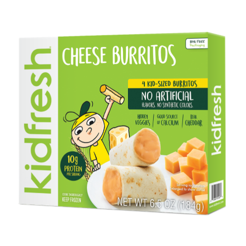Kidfresh mozzarella sticks, burritos, and waffles