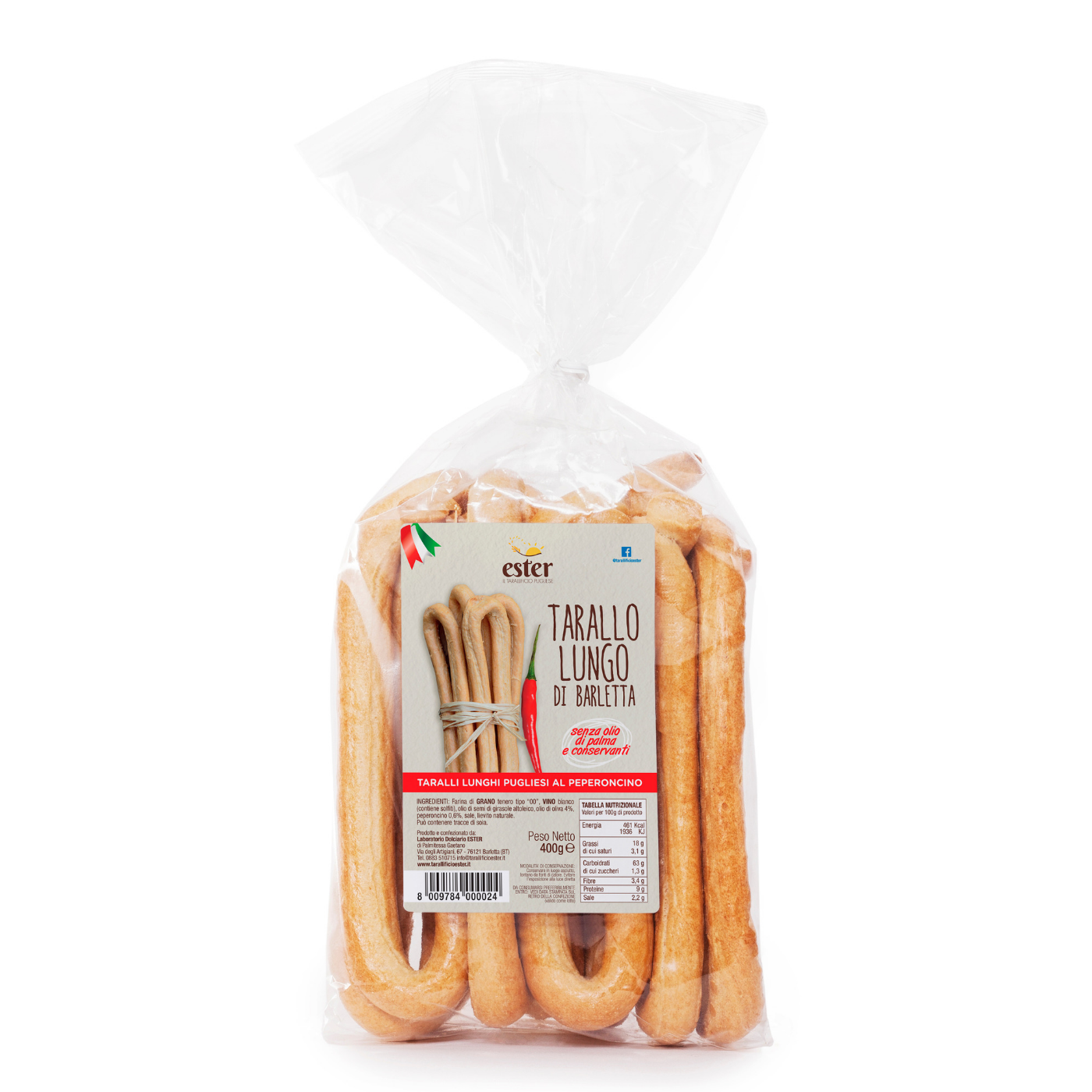 Ester Chili Pepper Taralli Lunghi Baked Product chilli, wheat,salted snack,biscuit Italy