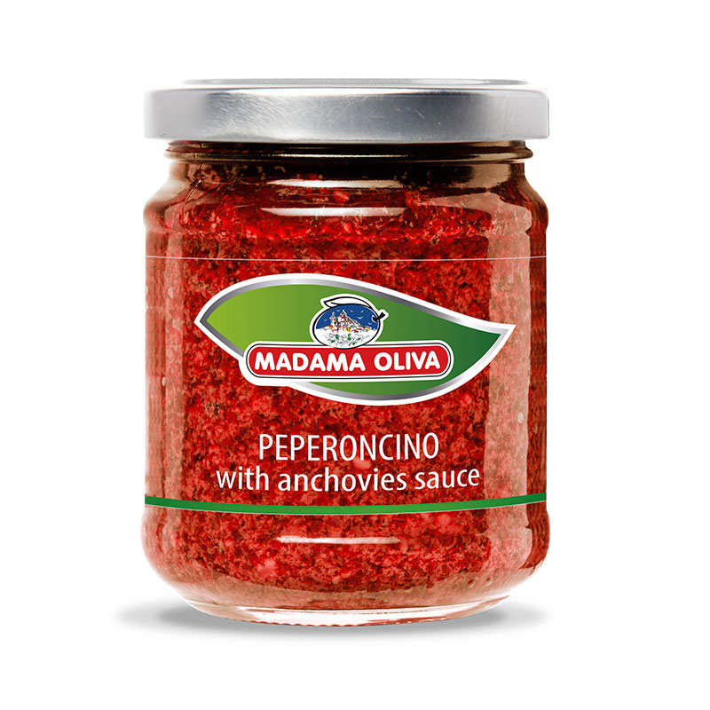 Peperoncino with anchovies sauce Italian sauce Calabrian spicy Chilli sauce