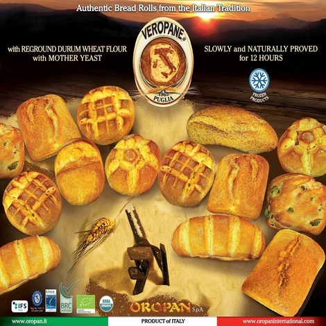 Frozen Rosetta bread roll with durum wheat semolina 50g, BAKERY&CEREAL/BAKED, Italy, OROPAN S.p.A.