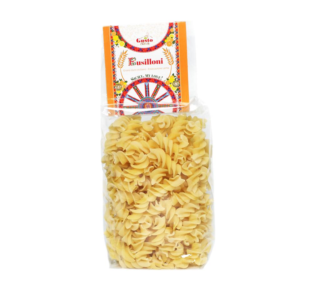 Busiata of durum wheat semolina, pasta cereal, Italy