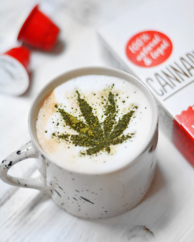 Cannabissimo coffee with hemp seeds, leaves and flowers