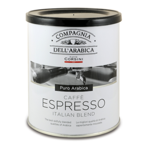 Purissimi Arabica Espresso ground coffee 250gr in TIN Italy