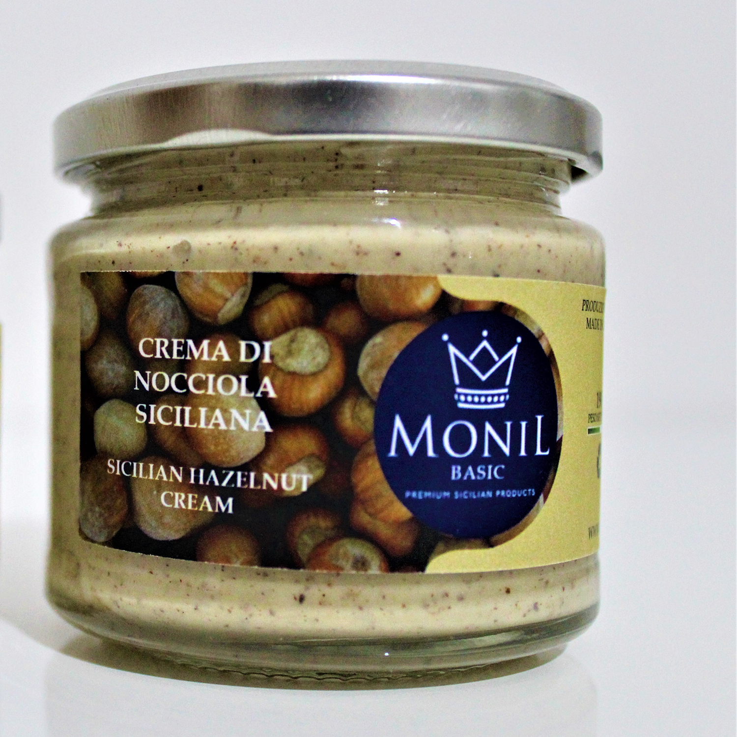Sicilian hazelnut cream MONIL Basic, Italy, Italian nuts, condiment, Sweet Spread, sauce