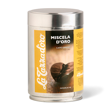 GRAN MISCELA Espresso blend whole beans with coffee origins from Brasil, Ethiopia and India, Italy, La Tazza d'oro srl