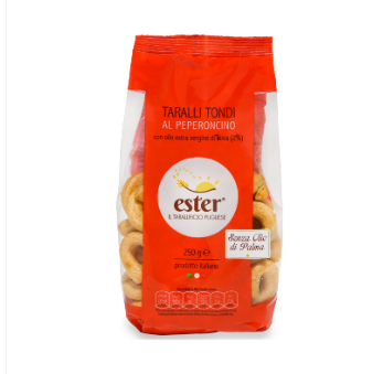 Ester Chili Pepper Taralli Tondi Baked Proudct wheat,salted snack,biscuit Italy