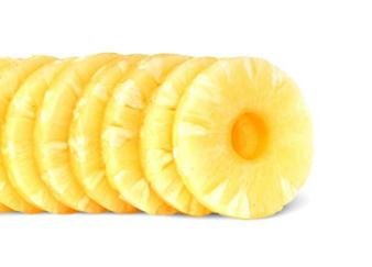 fresh made pineapple pieces in can