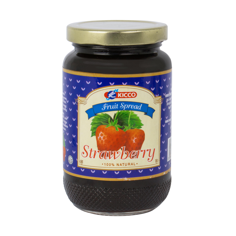 KICCO Malaysia Fruit Jam Jar 100% Natural Mix fruits, Strawberry, Orange