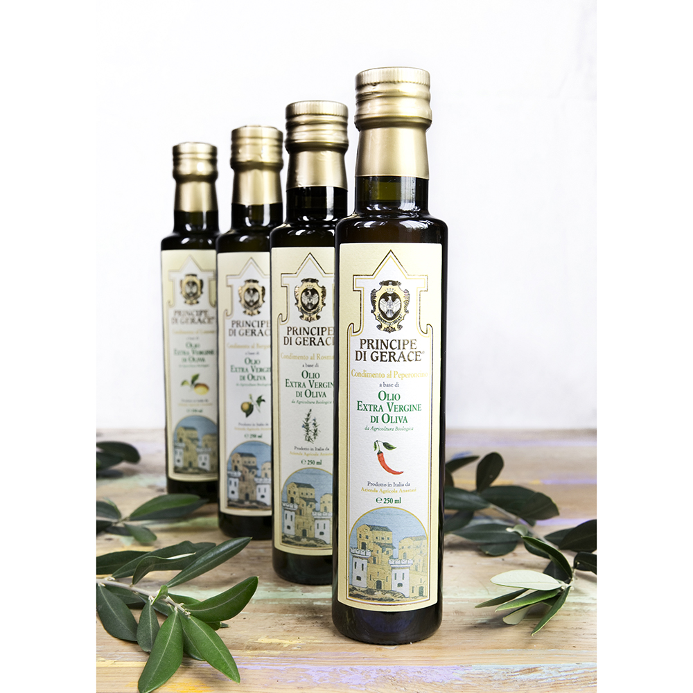 Principe di Gerace, Organic Flavoured Oils, 100% Product of Italy, 250ml (Chili/Bergamot/Lemon/Rosemary/Garlic/Oregano) , Mediterranea foods