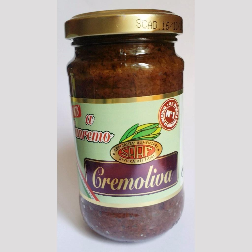 CREAM OF BLACK OLIVES Sause, condiment , Italy, SARF Specialità Alimentari Riviera dei Fiori